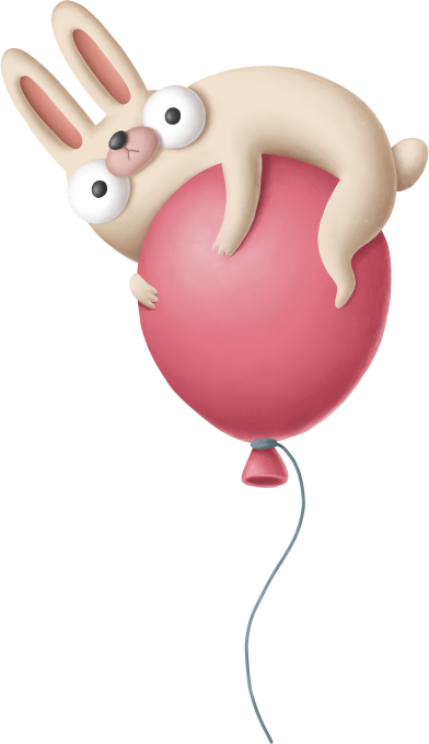 Bunny on red balloon