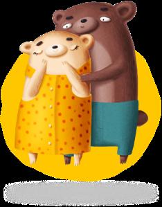 Mum and dad bears cuddling